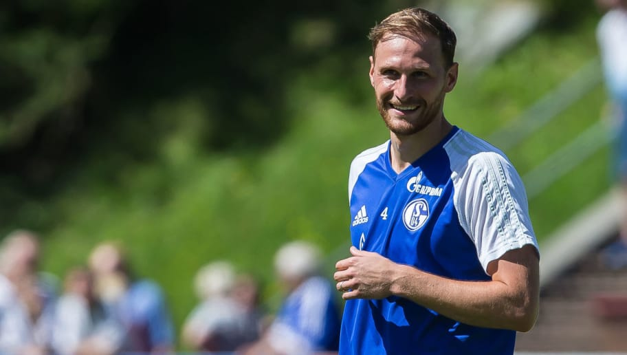 MITTERSILL, AUSTRIA - JULY 29: Benedikt Hoewedes of Schalke looks on during the Training Camp of FC Schalke 04 on July 29, 2017 in Mittersill, Austria. (Photo by TF-Images/TF-Images via Getty Images)