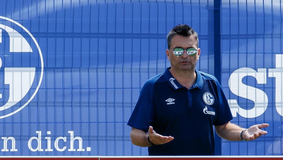 MITTERSILL, AUSTRIA - AUGUST 01: Sporting director Christian Heidel of Schalke gestures during the Schalke 04 Training Camp on August 1, 2018 in Mittersill, Austria. (Photo by TF-Images/Getty Images)