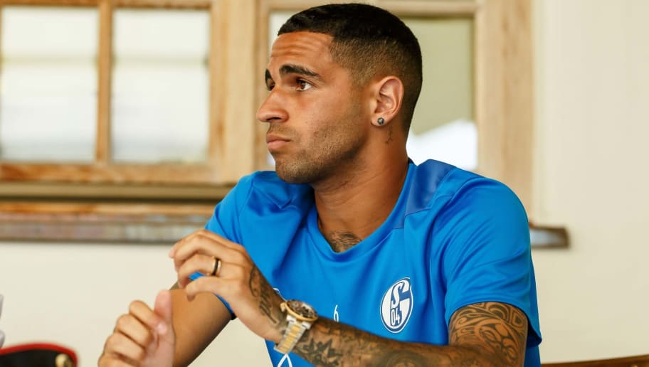 MITTERSILL, AUSTRIA - AUGUST 02: Omar Mascarell of Schalke gives an interview during the Schalke 04 Training Camp on August 2, 2018 in Mittersill, Austria. (Photo by TF-Images/Getty Images)