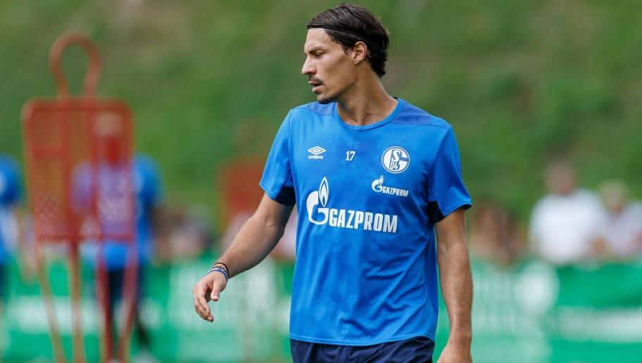 MITTERSILL, AUSTRIA - AUGUST 03: Benjamin Stambouli of Schalke looks on during the Schalke 04 Training Camp on August 3, 2018 in Mittersill, Austria. (Photo by TF-Images/Getty Images)