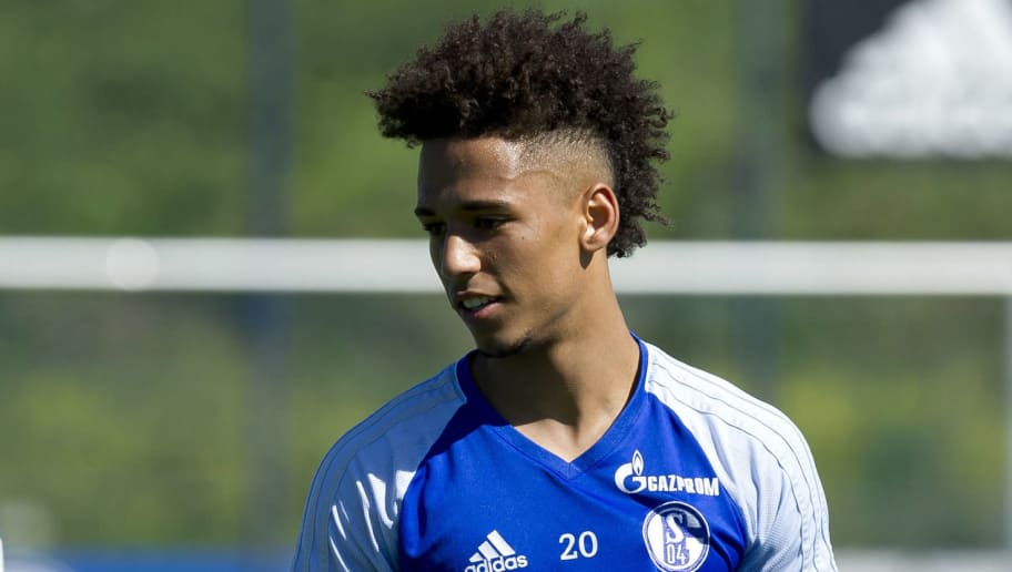 GELSENKIRCHEN, GERMANY - MAY 08: Thilo Kehrer of Schalke looks on during a training session at the FC Schalke 04 Training center on May 8, 2018 in Gelsenkirchen, Germany. (Photo by TF-Images/Getty Images)