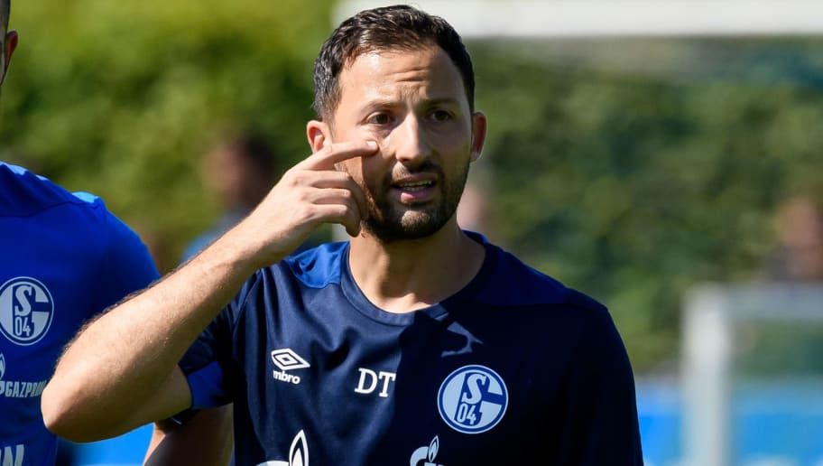 GELSENKIRCHEN, GERMANY - JULY 24: Head coach Domenico Tedesco of Schalke gestures during a training session at the FC Schalke 04 Training center on July 24, 2018 in Gelsenkirchen, Germany. (Photo by TF-Images/Getty Images)