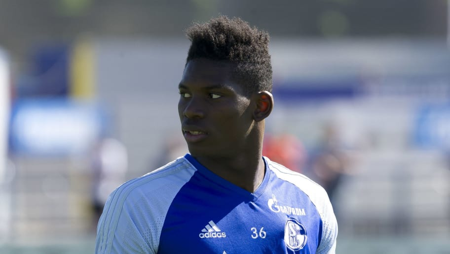 GELSENKIRCHEN, GERMANY - MAY 08: Breel Embolo of Schalke looks on during a training session at the FC Schalke 04 Training center on May 8, 2018 in Gelsenkirchen, Germany. (Photo by TF-Images/Getty Images)