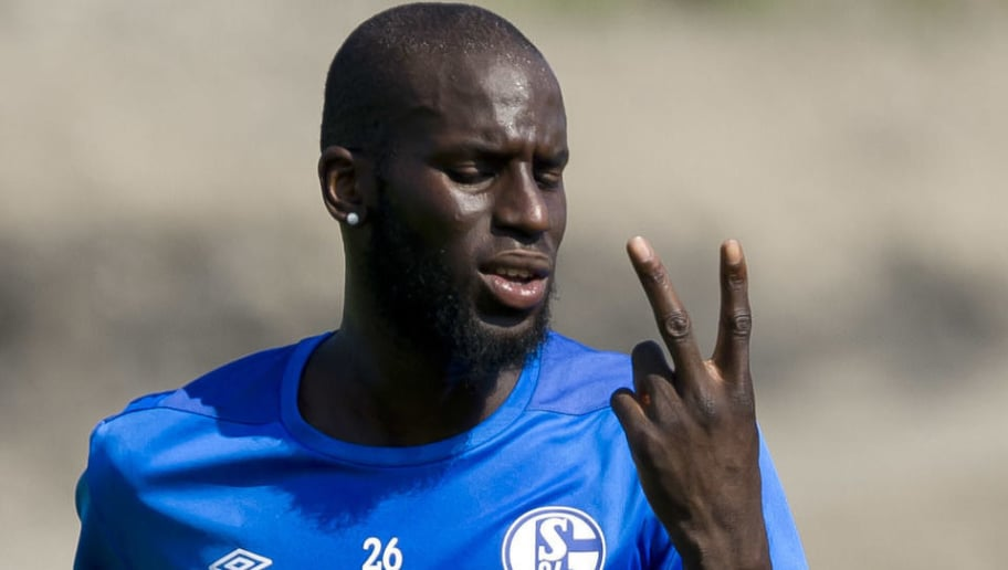 GELSENKIRCHEN, GERMANY - JULY 26: Salif Sane of Schalke gestures during a training session at the FC Schalke 04 Training center on July 26, 2018 in Gelsenkirchen, Germany. (Photo by TF-Images/Getty Images)