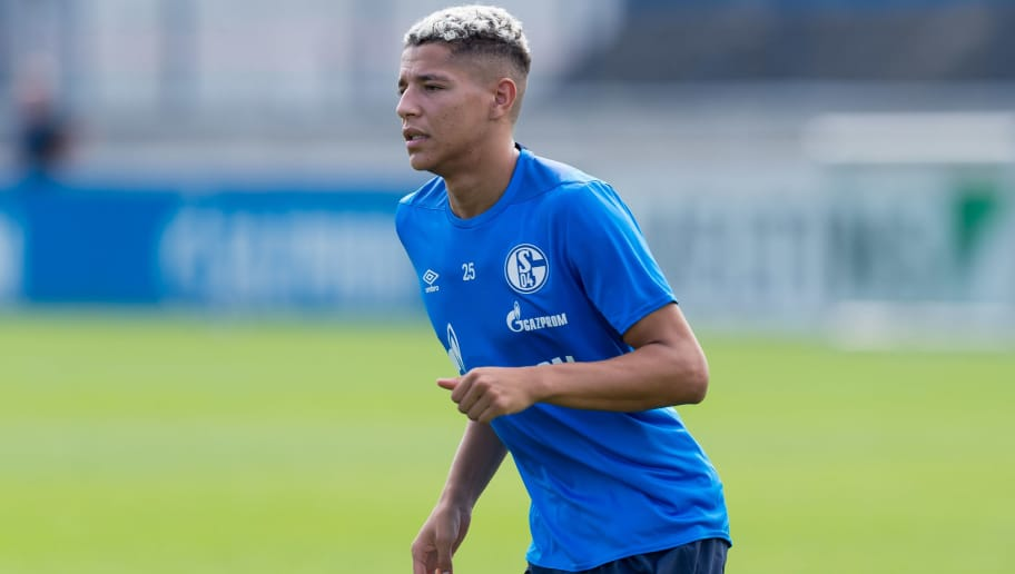 GELSENKIRCHEN, GERMANY - AUGUST 21: Amine Harit of Schalke looks on during the Schalke 04 training session on August 21, 2018 in Gelsenkirchen, Germany. (Photo by TF-Images/Getty Images)