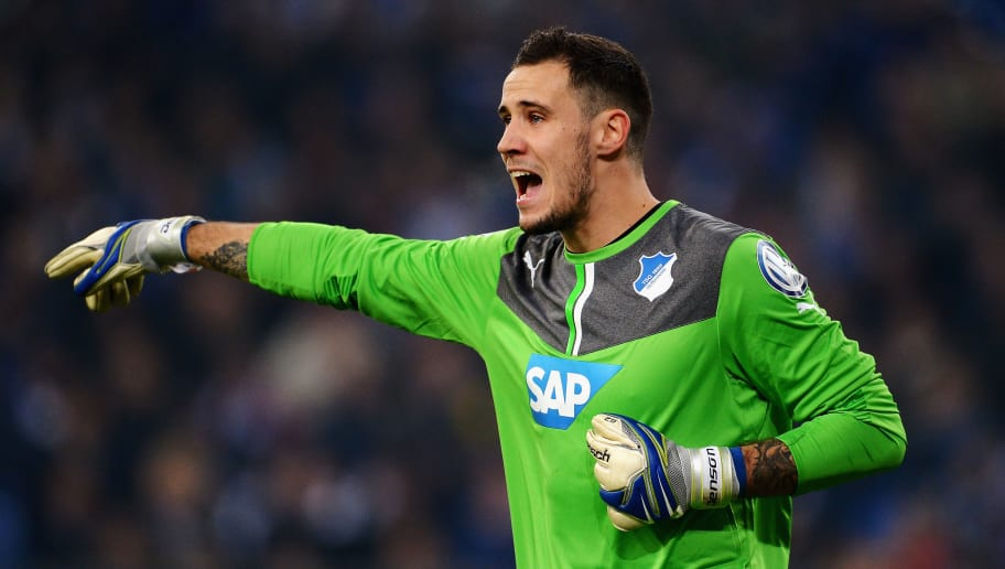 GELSENKIRCHEN, GERMANY - DECEMBER 03:  Goalkeeper Jens Grahl of 1899 Hoffenheim gestures during the DFB Cup match between Schalke 04 and 1899 Hoffenheim at Veltins-Arena on December 3, 2013 in Gelsenkirchen, Germany.  (Photo by Dennis Grombkowski/Bongarts/Getty Images)
