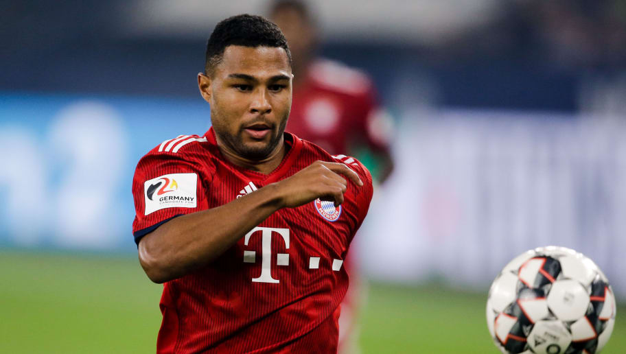 GELSENKIRCHEN, GERMANY - SEPTEMBER 22: Serge Gnabry of Bayern Munchen during the German Bundesliga  match between Schalke 04 v Bayern Munchen at the Veltins Arena on September 22, 2018 in Gelsenkirchen Germany (Photo by Erwin Spek/Soccrates/Getty Images)