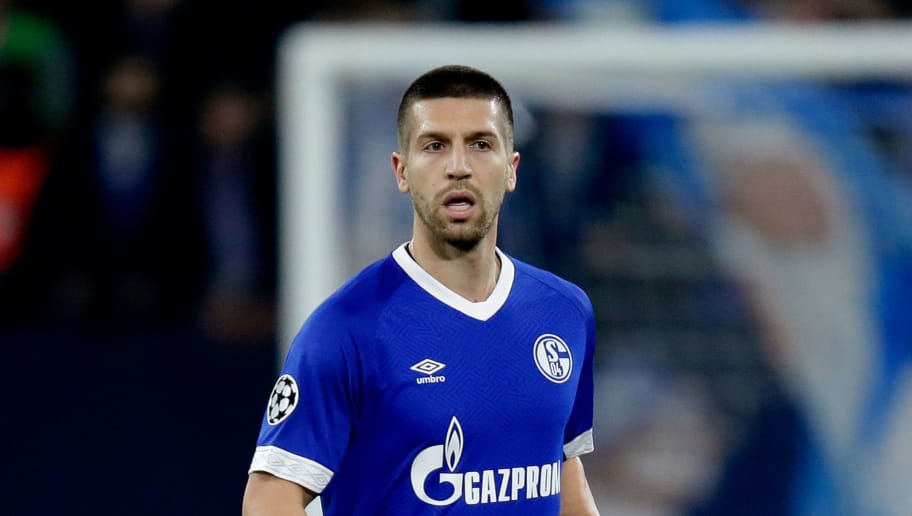GELSENKIRCHEN, GERMANY - NOVEMBER 6: Matija Nastasic of Schalke 04  during the UEFA Champions League  match between Schalke 04 v Galatasaray at the Veltins Arena on November 6, 2018 in Gelsenkirchen Germany (Photo by Peter Lous/Soccrates/Getty Images)