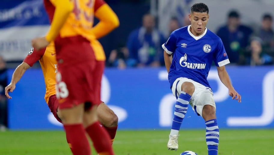 GELSENKIRCHEN, GERMANY - NOVEMBER 6: Amine Harit of Schalke 04  during the UEFA Champions League  match between Schalke 04 v Galatasaray at the Veltins Arena on November 6, 2018 in Gelsenkirchen Germany (Photo by Peter Lous/Soccrates/Getty Images)