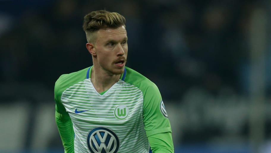 GELSENKIRCHEN, GERMANY - FEBRUARY 7: Yannick Gerhardt of VfL Wolfsburg  during the German DFB Pokal  match between Schalke 04 v VFL Wolfsburg at the Veltins Arena on February 7, 2018 in Gelsenkirchen Germany (Photo by Peter Lous/Soccrates/Getty Images)