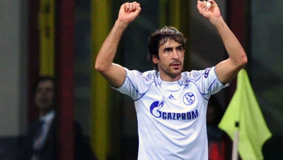 Schalke's Spanish striker Raul celebrate