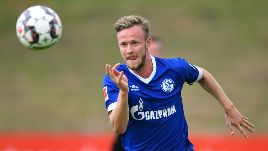 ESSEN, GERMANY - JULY 21: Cedric Teuchert of Schalke controls the ball during the Friendly match between Schwarz Weiss Essen and FC Schalke 04 on July 21, 2018 in Essen, Germany. (Photo by TF-Images/Getty Images)