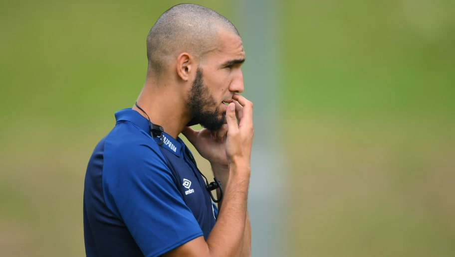 ESSEN, GERMANY - JULY 21: Nabil Bentaleb of Schalke looks on during the Friendly match between Schwarz Weiss Essen and FC Schalke 04 on July 21, 2018 in Essen, Germany. (Photo by TF-Images/Getty Images)
