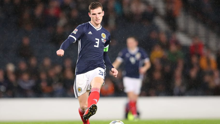 GLASGOW, SCOTLAND - SEPTEMBER 10: Andrew Robertson of Scotland during the UEFA Nations League C group one match between Scotland and Albania at Hampden Park on September 10, 2018 in Glasgow, United Kingdom. (Photo by James Williamson - AMA/Getty Images)