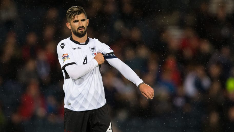 GLASGOW, SCOTLAND - SEPTEMBER 10: Elseid Hysaj of Albania during the UEFA Nations League C group one match between Scotland and Albania at Hampden Park on September 10, 2018 in Glasgow, United Kingdom. (Photo by Craig Mercer/MB Media/Getty Images)