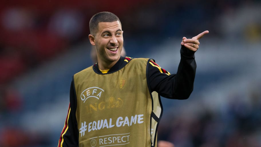 GLASGOW, SCOTLAND - SEPTEMBER 07:  Eden Hazard of Belgium during the pre-match warm-up during the International Friendly match between Scotland and Belgium on September 7, 2018 in Glasgow, United Kingdom. (Photo by Craig Mercer/MB Media/Getty Images)