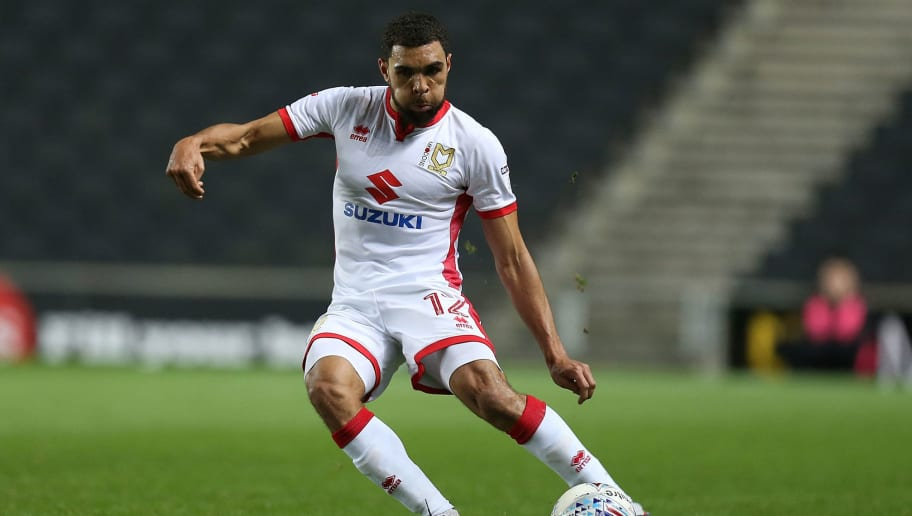 MILTON KEYNES, ENGLAND - DECEMBER 06:  Scott Golbourne of Milton Keynes Dons in action during the Checkatrade Trophy Second Round match between Milton Keynes Dons and Chelsea U21vat StadiumMK on December 6, 2017 in Milton Keynes, England.  (Photo by Pete Norton/Getty Images)