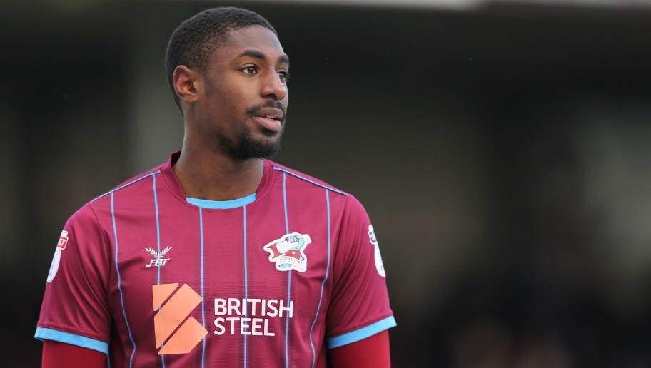 SCUNTHORPE, ENGLAND - MARCH 17: Hakeeb Adelakun of Scunthorpe United during the Sky Bet League One match between Scunthorpe United and Shrewsbury Town at Glanford Park on March 17, 2018 in Scunthorpe, England. (Photo by James Williamson - AMA/Getty Images)