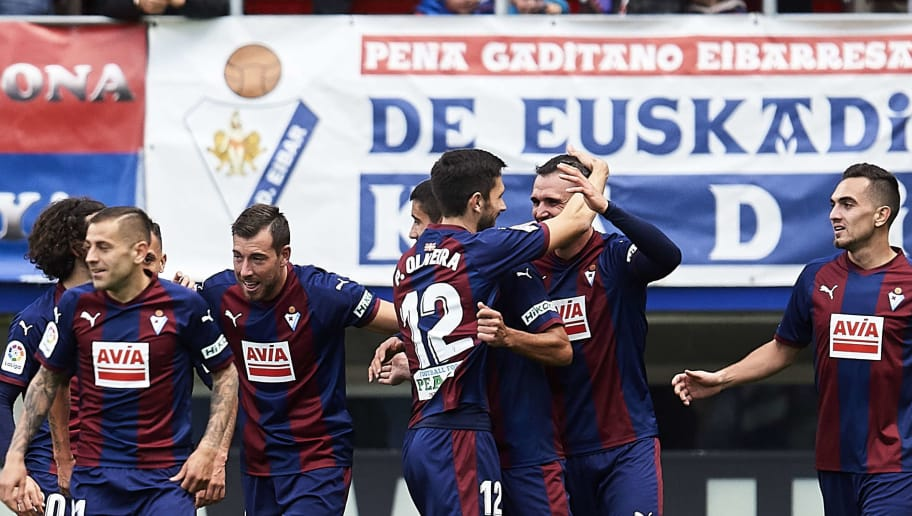 EIBAR, SPAIN - NOVEMBER 24: Kike Garcia of SD Eibar celebrates after scoring his team's third goal during the La Liga match between SD Eibar and Real Madrid CF at Ipurua Municipal Stadium on November 24, 2018 in Eibar, Spain. (Photo by Juan Manuel Serrano Arce/Getty Images)