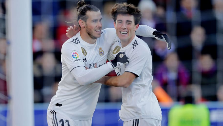 HUESCA, SPAIN - DECEMBER 9: Gareth Bale of Real Madrid celebrates 1-0 during the La Liga Santander  match between SD Huesca v Real Madrid at the Estadio El Alcoraz on December 9, 2018 in Huesca Spain (Photo by Jeroen Meuwsen/Soccrates/Getty Images)