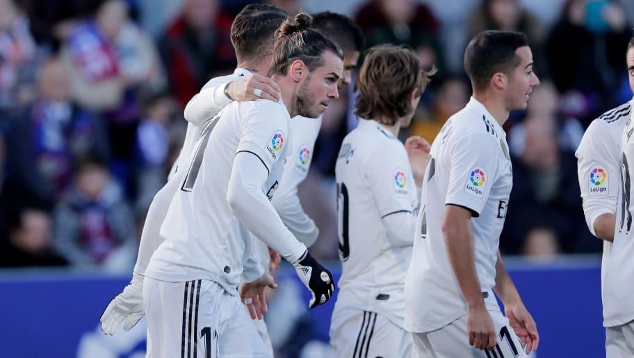 HUESCA, SPAIN - DECEMBER 9: Gareth Bale of Real Madrid celebrate goal during the La Liga Santander  match between SD Huesca v Real Madrid at the Estadio El Alcoraz on December 9, 2018 in Huesca Spain (Photo by Jeroen Meuwsen/Soccrates/Getty Images)