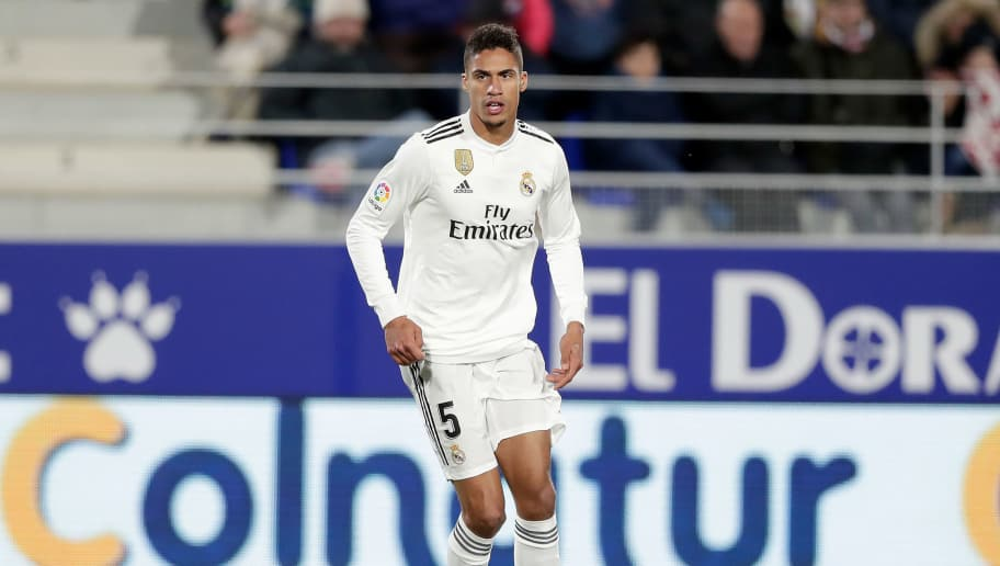 HUESCA, SPAIN - DECEMBER 9: Raphael Varane of Real Madrid  during the La Liga Santander  match between SD Huesca v Real Madrid at the Estadio El Alcoraz on December 9, 2018 in Huesca Spain (Photo by Jeroen Meuwsen/Soccrates/Getty Images)