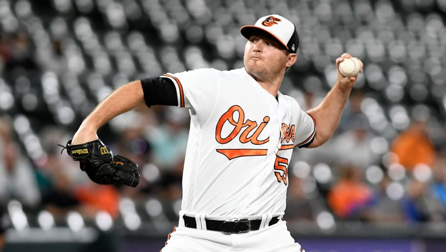 BALTIMORE, MD - JUNE 27:  Zach Britton #53 of the Baltimore Orioles pitches against the Seattle Mariners at Oriole Park at Camden Yards on June 27, 2018 in Baltimore, Maryland.  (Photo by G Fiume/Getty Images)