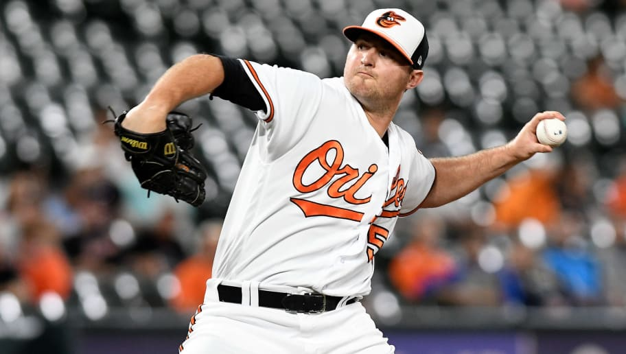 BALTIMORE, MD - JUNE 27: Zach Britton #53 of the Baltimore Orioles pitches in the ninth inning against the Seattle Mariners at Oriole Park at Camden Yards on June 27, 2018 in Baltimore, Maryland.  (Photo by Greg Fiume/Getty Images)
