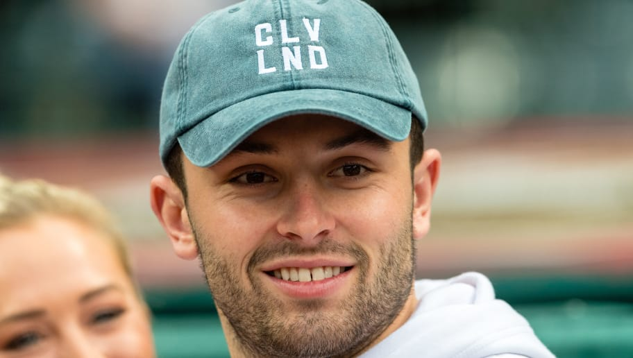 CLEVELAND, OH - APRIL 27: Cleveland Browns No. 1 draft pick Baker Mayfield prior to throwing out the ceremonial first pitch prior to the game between the Cleveland Indians and the Seattle Mariners at Progressive Field on April 27, 2018 in Cleveland, Ohio. (Photo by Jason Miller/Getty Images)