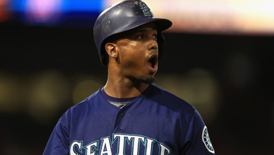 ANAHEIM, CA - JULY 10:  Jean Segura #2 of the Seattle Mariners reacts to fouling out during the fifth inning of a game against the Los Angeles Angels of Anaheim  at Angel Stadium on July 10, 2018 in Anaheim, California.  (Photo by Sean M. Haffey/Getty Images)