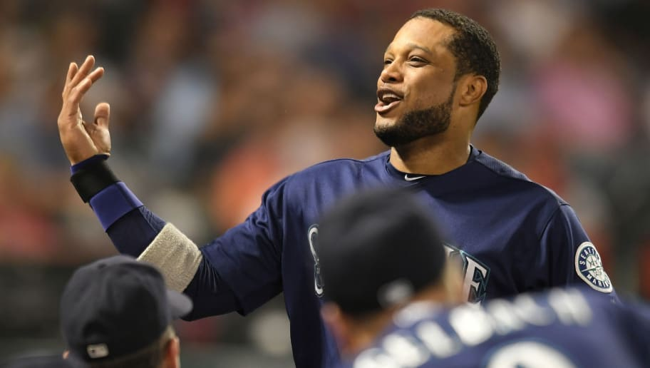 ANAHEIM, CA - SEPTEMBER 14: Robinson Cano #22 of the Seattle Mariners celebrates after scoring on a RBI single by Ryon Healy in the fourth inning at Angel Stadium on September 14, 2018 in Anaheim, California. (Photo by John McCoy/Getty Images)