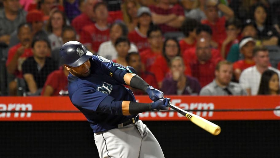 ANAHEIM, CA - SEPTEMBER 13:  Nelson Cruz #23 of the Seattle Mariner hits a three run home run in the fourth inning of the game against the Los Angeles Angels of Anaheim at Angel Stadium on September 13, 2018 in Anaheim, California.  (Photo by Jayne Kamin-Oncea/Getty Images)