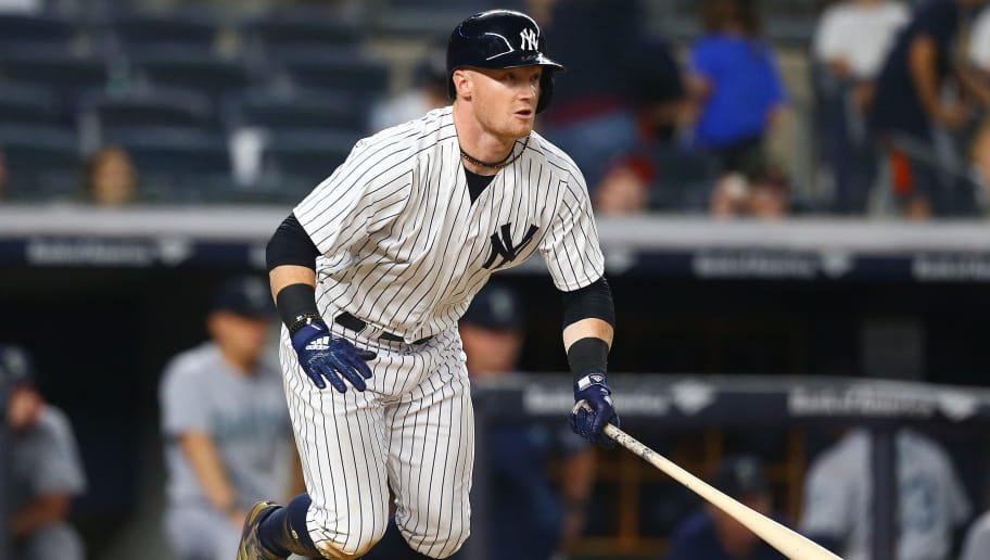 NEW YORK, NY - JUNE 20:  Clint Frazier #77 of the New York Yankees in action against the Seattle Mariners at Yankee Stadium on June 20, 2018 in the Bronx borough of New York City. New York Yankees defeated the Seattle Mariners 7-5.  (Photo by Mike Stobe/Getty Images)