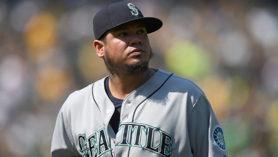 OAKLAND, CA - SEPTEMBER 02:  Felix Hernandez #34 of the Seattle Mariners looks on as he walks back to the dugout after he was taken out of the game against the Oakland Athletics in the bottom of the six inning at Oakland Alameda Coliseum on September 2, 2018 in Oakland, California.  (Photo by Thearon W. Henderson/Getty Images)