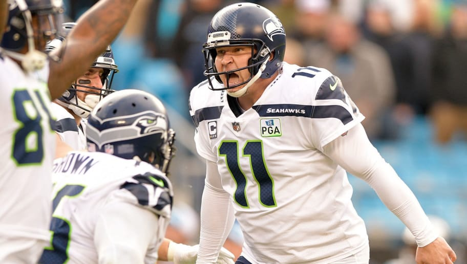 CHARLOTTE, NC - NOVEMBER 25:  Sebastian Janikowski #11 of the Seattle Seahawks reacts after kicking the game-winning field goal against the Carolina Panthers at Bank of America Stadium on November 25, 2018 in Charlotte, North Carolina. The Seahawks won 30-27.  (Photo by Grant Halverson/Getty Images)