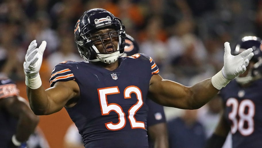 CHICAGO, IL - SEPTEMBER 17:  Khalil Mack #52 of the Chicago Bears encourages the crowd to cheer against the Seattle Seahawks at Soldier Field on September 17, 2018 in Chicago, Illinois. The Bears defeated the Seahawks 24-17.  (Photo by Jonathan Daniel/Getty Images)