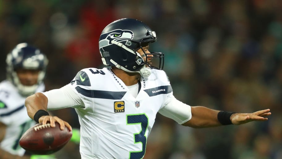 LONDON, ENGLAND - OCTOBER 14:  Russell Wilson #3 of the Seattle Seahawks during the NFL International Series game between Seattle Seahawks and Oakland Raiders at Wembley Stadium on October 14, 2018 in London, England.  (Photo by Warren Little/Getty Images)