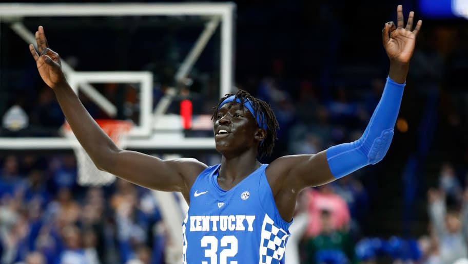 ST LOUIS, MO - MARCH 11:  Wenyen Gabriel #32 of the Kentucky Wildcats celebrates after making a three point shot against the Tennessee Volunteers during the Championship game of the 2018 SEC Basketball Tournament at Scottrade Center on March 11, 2018 in St Louis, Missouri.  (Photo by Andy Lyons/Getty Images)