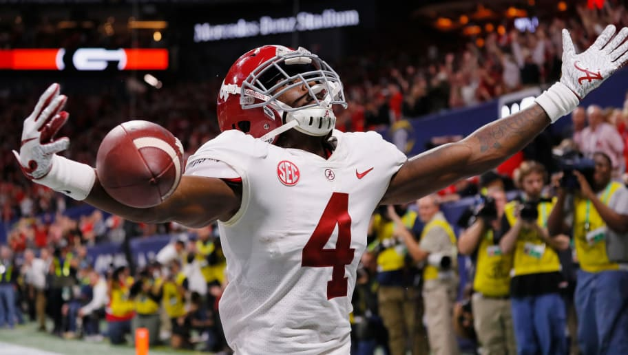 ATLANTA, GA - DECEMBER 01:  Jerry Jeudy #4 of the Alabama Crimson Tide celebrates scoring a touchdown against the Georgia Bulldogs in the fourth quarter during the 2018 SEC Championship Game at Mercedes-Benz Stadium on December 1, 2018 in Atlanta, Georgia.  (Photo by Kevin C. Cox/Getty Images)