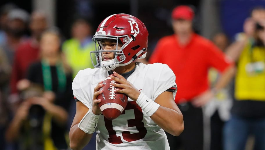 ATLANTA, GA - DECEMBER 01:  Tua Tagovailoa #13 of the Alabama Crimson Tide looks to pass the ball in the second half against the Georgia Bulldogs during the 2018 SEC Championship Game at Mercedes-Benz Stadium on December 1, 2018 in Atlanta, Georgia.  (Photo by Kevin C. Cox/Getty Images)
