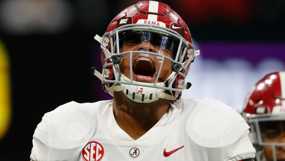 ATLANTA, GA - DECEMBER 01:  Quinnen Williams #92 of the Alabama Crimson Tide reacts after sacking Jake Fromm #11 of the Georgia Bulldogs (not pictured) in the first half during the 2018 SEC Championship Game at Mercedes-Benz Stadium on December 1, 2018 in Atlanta, Georgia.  (Photo by Kevin C. Cox/Getty Images)
