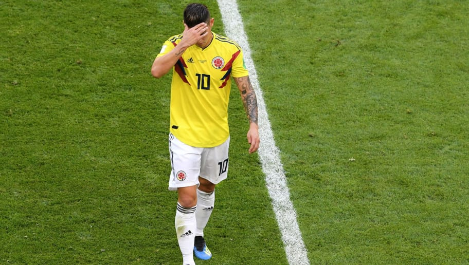 SAMARA, RUSSIA - JUNE 28:  James Rodriguez of Colombia looks dejected as he is substituted off due to injury during the 2018 FIFA World Cup Russia group H match between Senegal and Colombia at Samara Arena on June 28, 2018 in Samara, Russia.  (Photo by Stu Forster/Getty Images)