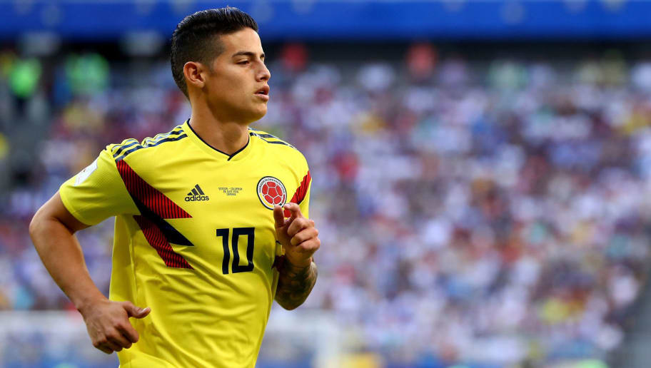 SAMARA, RUSSIA - JUNE 28:  James Rodriguez of Colombia during the 2018 FIFA World Cup Russia group H match between Senegal and Colombia at Samara Arena on June 28, 2018 in Samara, Russia.  (Photo by Dean Mouhtaropoulos/Getty Images)