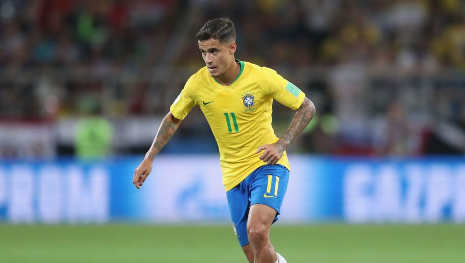 MOSCOW, RUSSIA - JUNE 27:  Philippe Coutinho of Brazil during the 2018 FIFA World Cup Russia group E match between Serbia and Brazil at Spartak Stadium on June 27, 2018 in Moscow, Russia.  (Photo by Michael Steele/Getty Images)