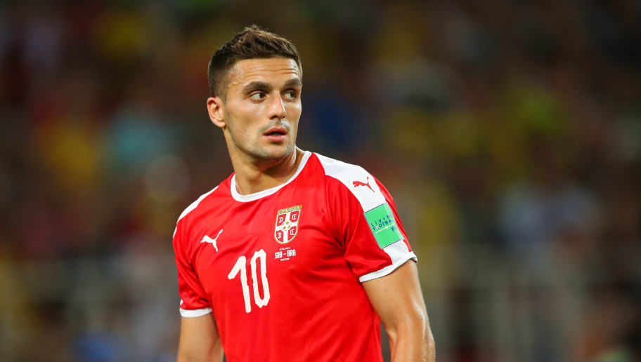 MOSCOW, RUSSIA - JUNE 27:    Dusan Tadic of Serbia in action during the 2018 FIFA World Cup Russia group E match between Serbia and Brazil at Spartak Stadium on June 27, 2018 in Moscow, Russia. (Photo by Robbie Jay Barratt - AMA/Getty Images)