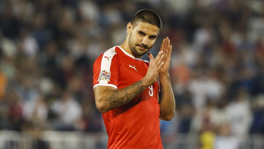 BELGRADE, SERBIA - SEPTEMBER 10: Aleksandar Mitrovic of Serbia reacts during the UEFA Nations League C group four match between Serbia and Romania at stadium Partizan on September 10, 2018 in Belgrade, Serbia. (Photo by Srdjan Stevanovic/Getty Images)