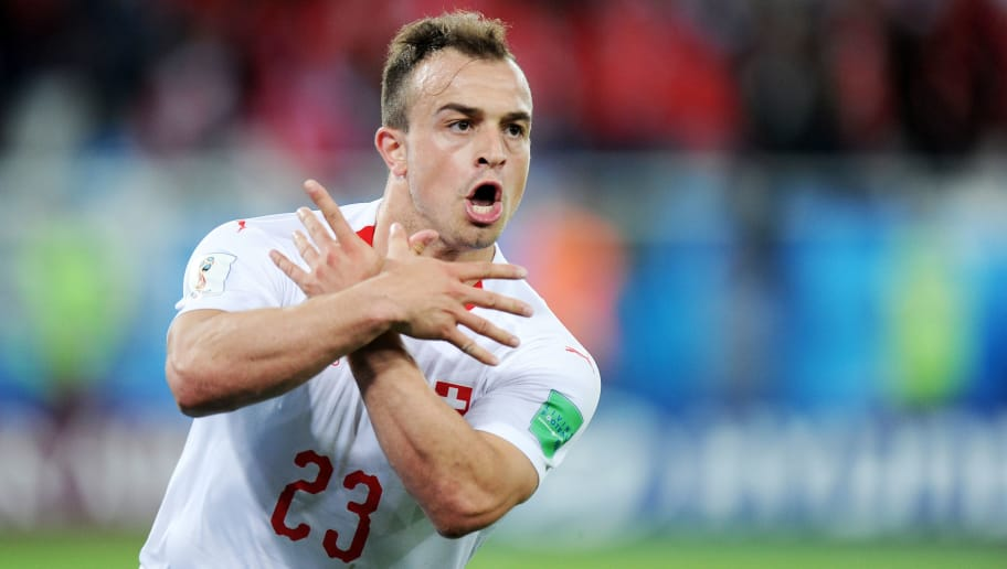 KALININGRAD, RUSSIA - JUNE 22: Xherdan Shaqiri of Switzerland celebrates scoring a goal during the 2018 FIFA World Cup Russia group E match between Serbia and Switzerland at Kaliningrad Stadium on June 22, 2018 in Kaliningrad, Russia. (Photo by Norbert Barczyk/PressFocus/MB Media/Getty Images)