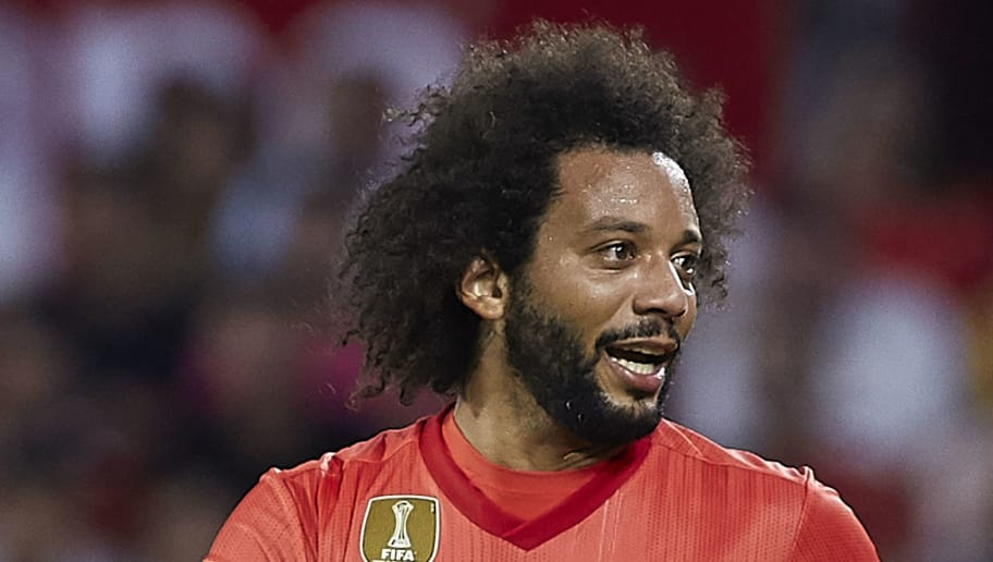 SEVILLE, SPAIN - SEPTEMBER 26:  Marcelo of Real Madrid reacts during the La Liga match between Sevilla FC and Real Madrid CF at Estadio Ramon Sanchez Pizjuan on September 26, 2018 in Seville, Spain.  (Photo by Quality Sport Images/Getty Images)