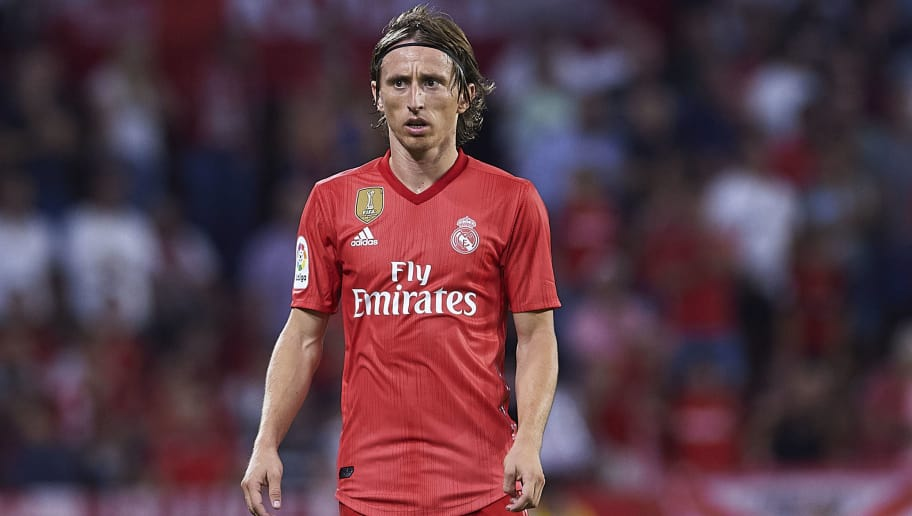 ae690071b25 SEVILLE, SPAIN - SEPTEMBER 26: Luka Modric of Real Madrid CF looks on during