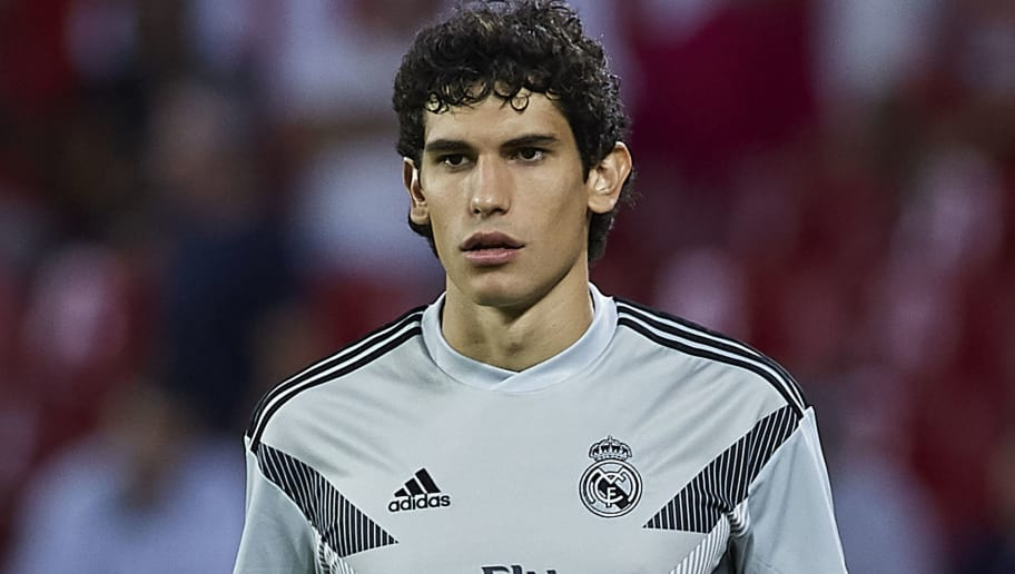 SEVILLE, SPAIN - SEPTEMBER 26:  Jesus Vallejo of Real Madrid warms up during the La Liga match between Sevilla FC and Real Madrid CF at Estadio Ramon Sanchez Pizjuan on September 26, 2018 in Seville, Spain.  (Photo by Quality Sport Images/Getty Images)